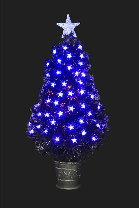 The 3ft Black Blue Star Fibre Optic Tree