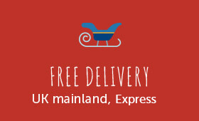 """A message that reads """"free delivery - UK mainland, express""""."""