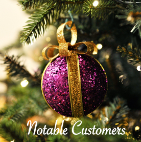 Large decorative artificial Christmas trees.