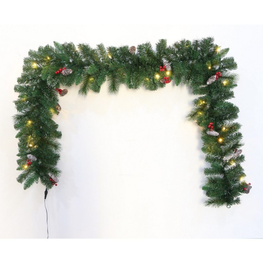 Pre-lit Connectable 270cm Majestic Dew Pine Garland
